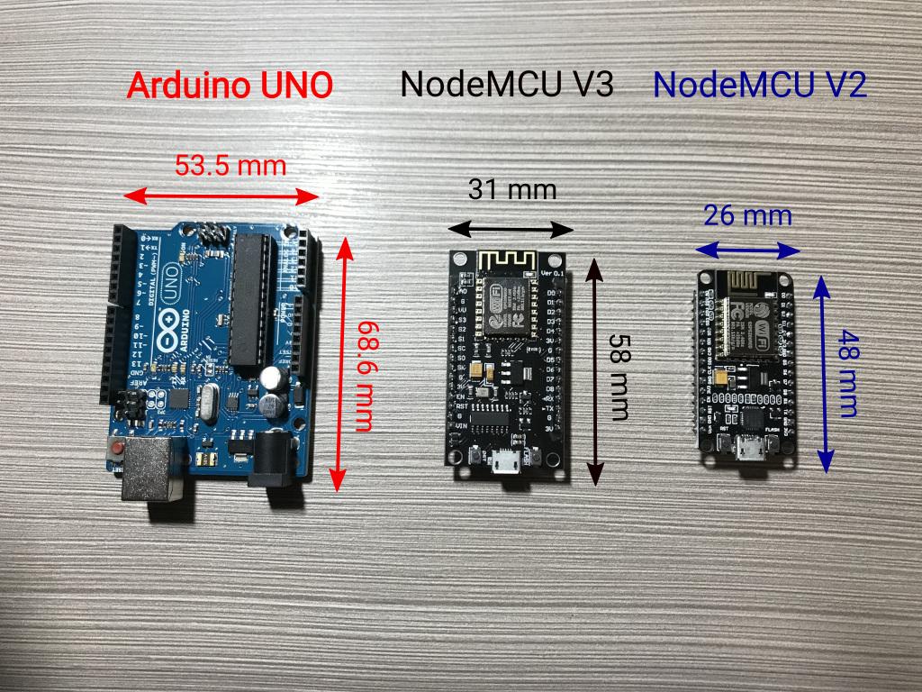 Arduino UNO, NodeMCU V2 and NodeMCU V3