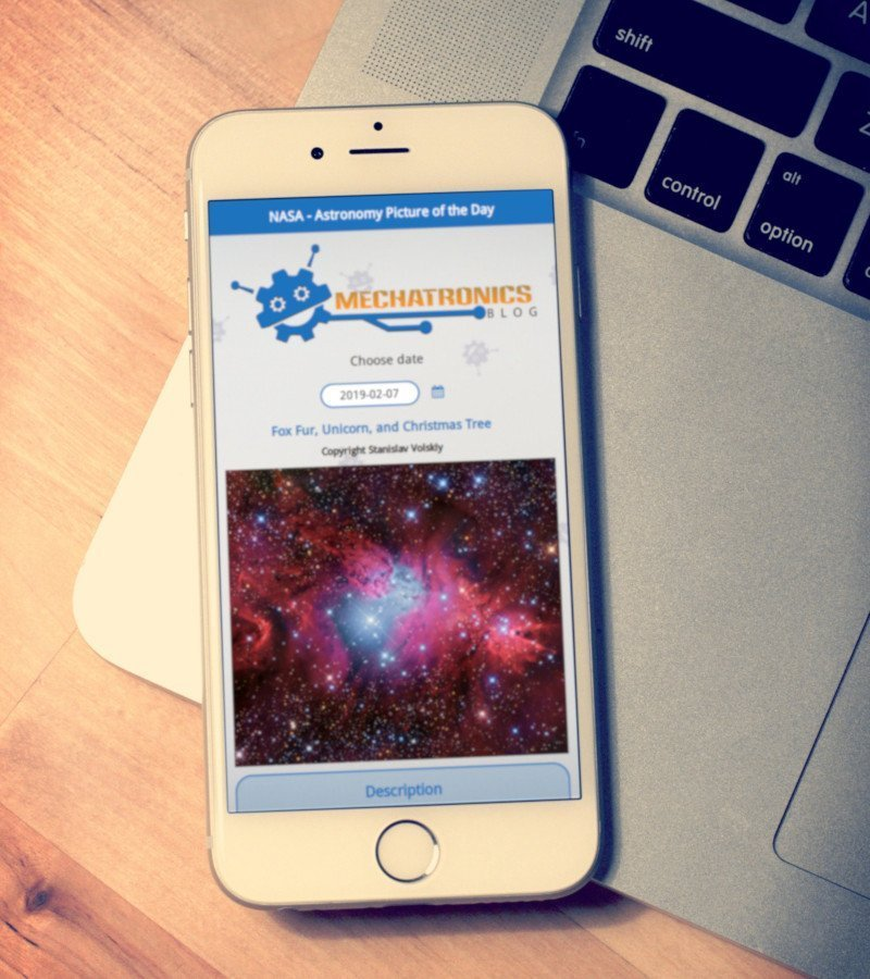 Qt, QML and Felgo tutorial. NASA Astronomy Picture of the Day app for Desktop, iOS and Android